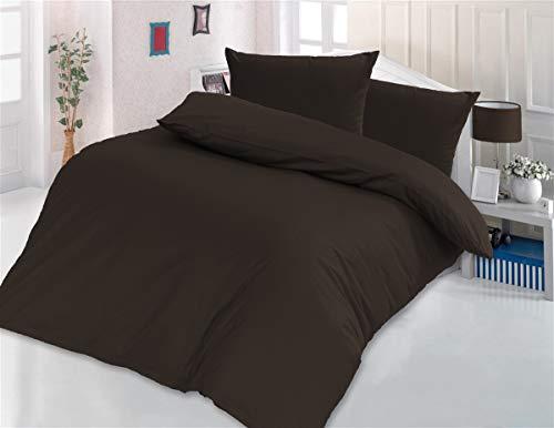 Style Heim Bettwäsche 135x200 cm Einfarbig Uni 2 TLG. 100% Baumwolle Renforcé Reißverschuss Kissenbezug 80x80 cm, Braun