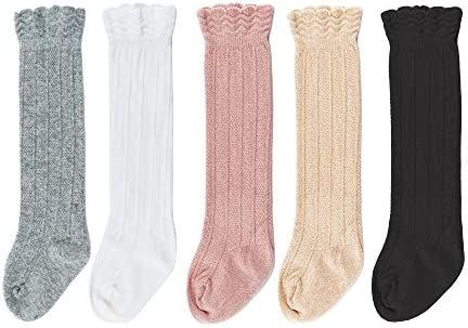 Bestjybt Baby Girls Boys Knee High Socks Cotton Newborn Infants Toddlers Cable Knit Tube Ruffled product image