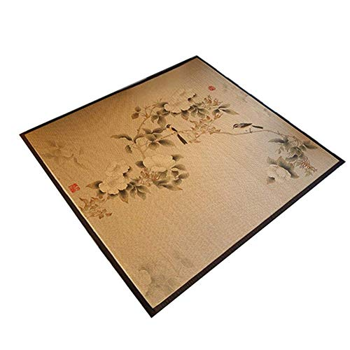 XCJJ Natural Fiber Bamboo Floor Mat Living Room Bedroom Area Rug Summer Printing Large Cool Pad,A,100 * 150cm