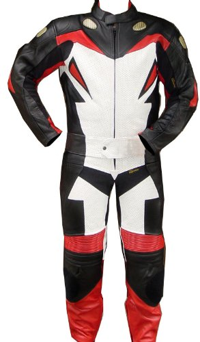 Perrini 2pc Motorcycle Racing Riding Leather Track Suit w/Armor New Red/White/Black