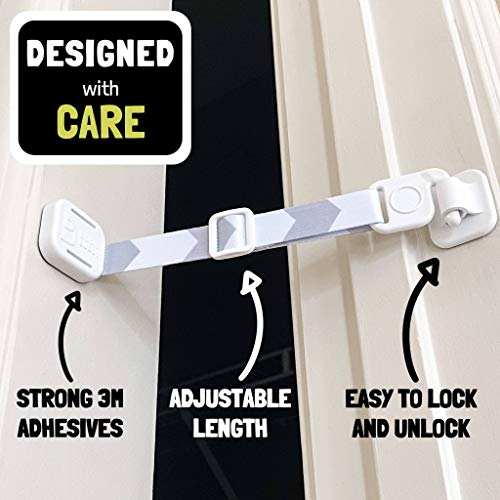 Door Buddy Adjustable Door Strap and Latch - Grey. Dog Proof Litter Box The Easy Way. No Need for Pet Gates or Interior Cat Door. Use This to Keep Dog Out of Litter Box and Cat Feeder.