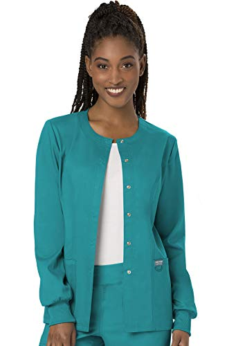 Cherokee Women's Snap Front Warm-up Jacket, Teal Blue, X-Large
