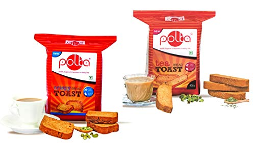 POLKA Pack of 6 Rusk , 3 Crispy Toast , 3 Tea Toast ,2400 Gm