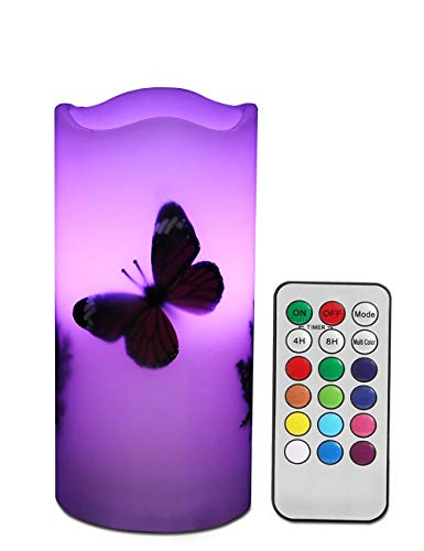 LED Candles Flameless Battery Operated with Remote Timer 6'' Tealight Butterfly & Plants Decor Real Wax Electric Candle Lights 12 Color Changing for Home&Kitchen Indoor/Outdoor Party
