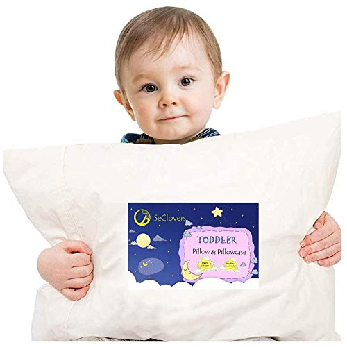 Toddler Pillow with Pillowcase | 13 x 18 Soft Hypoallergenic 100% Organic Cotton Baby Pillows for Sleeping | Toddlers beds, Kids Pillow , Infant - Perfect for Travel,Baby Cribs, Machine Washable