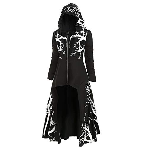 Asymmetrisches Damen-Kapuzenkleid aus Fleece, Übergröße, Vintage, Umhang, hoher niedriger Saum, Bluse - schwarz 2, size: Groß