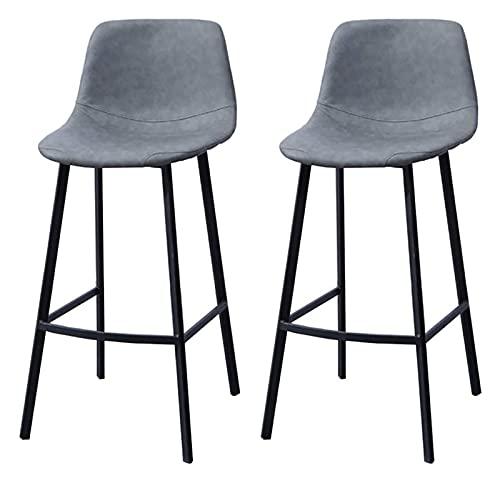 Taburetes de barra de cuero PU Conjunto de 2 toolols con espalda y reposapiés Barra de altura Taburete de cuero sillones para cocina Pub 0924 (color: marrón claro, tamaño: taburetes de barras Conjunto
