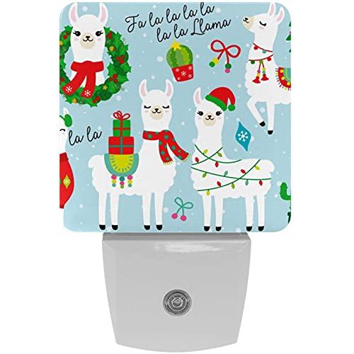 Linda Navidad Alpaca Lama Cactus Print Plug-in LED Night Light Lámpara de noche con luz nocturna para niños con movimiento automático Senor adecuado para dormitorio, baño, escaleras, cocina, pasillo