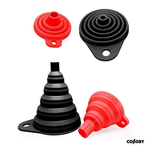 Collory Silikon-Trichter Satz faltbar (2 Stück) für Küche und Haushalt | Einfüllhilfe Set | Hitzebeständig -30°C - +230°C |...