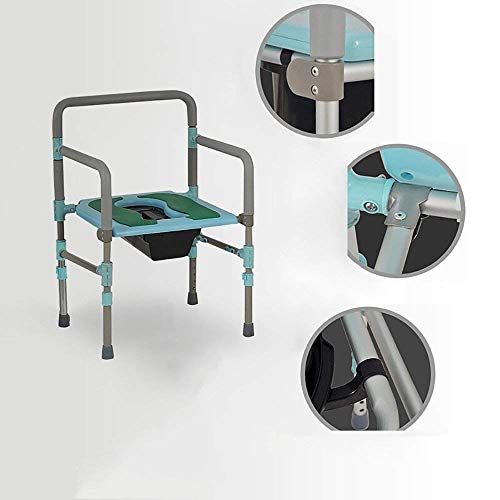 ZXY-NAN Bathroom Wheelchairs Family Elderly Pregnant Woman Toilet-Bedside Toilet/Stainless Steel Elderly Pregnant Woman Bath Chair/Multifunctional Chair/It Can Move Adjust Height Toilet Seat Bath Chai