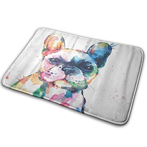 HATESAH Bathroom Rugs Bath Mat,Frenchie French Bulldog Original Watercolor of Dog Funny Happy,Non Slip Shower Mat Super Cozy Floor Rug Doormats Carpets Bathroom Decorations