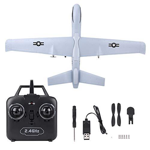 Dilwe Planeador de Espuma RC, 2.4G Gray Z51 Control Remoto Foam Glider Airplane Kit DIY Modelo de Avión(con Barra de luz )