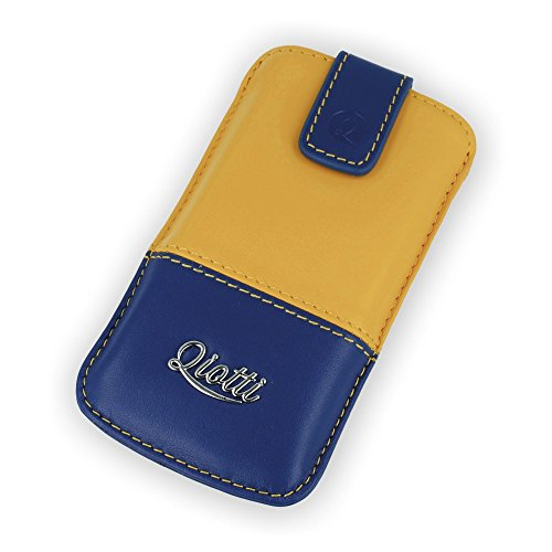QIOTTI QX-P-0150-04-L Q.Pouch Luxury Two Tone Tasche (Größe: L) blau/gelb