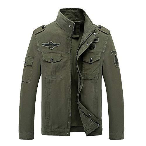 KPILP Mantel Männer Übergröße Strickjacke Casual Overalls Reißverschluss Outwear Tactical Military Fracht Langarm Jacke Herbst Gewinner(Armeegrün,EU-56/CN-XL