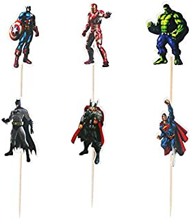 48pcs The Avengers and Superman Cupcake Toppers for Birthday Party Cake Decoration Supplies