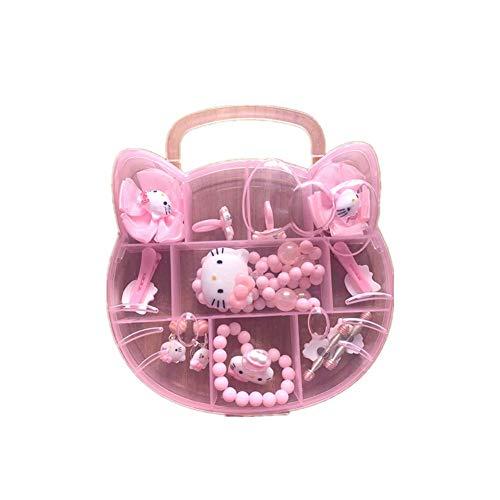 Set di gioielli per bambina Hello Kitty Minnie Mouse Clip per capelli collana rosa rosso, colore: HK2.