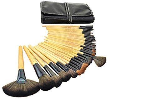 VALUE MAKERS 32pcs Make Up Brushes - Professional Make Up Brushes Set - Wood Make Up Brush Set - Makeup Brush Set - Makeup Brushes - Cosmetics Tools + Makeup Brush Case - Eyeshadow, Eyebrow, Eyelash, Eyeliner, Lip, Powder, Blush, Face, Concealer, Foundation, Blusher Makeup Brushes Set (Wood) by ValueMakers