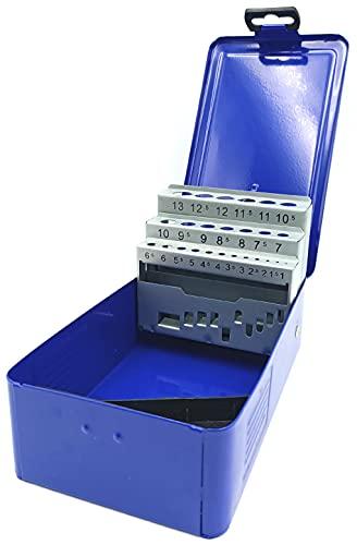 Kombi - Estuche porta brocas de metal de 25 plazas para taladro de 1 a 13 mm, herramienta de repuesto y caja de herramientas