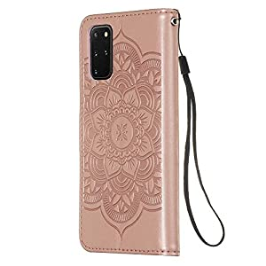 Hülle für Samsung Galaxy S20+ / S20 Plus Mit Schlüsselband,PU Klapphülle Brieftasche Kartenfächer Handyhülle Stylish Flip Magnetverschluss Geschlossen Case mit Standfunktion,3D Traumfänger(Roségold)
