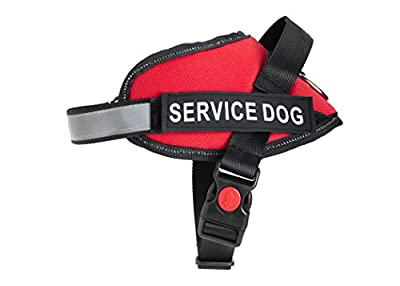 Service Dog Vest - Premium Quality Service Dog Harness - Improved Design - Fully Adjustable - Bright Red Safety Color with Reflective Strap