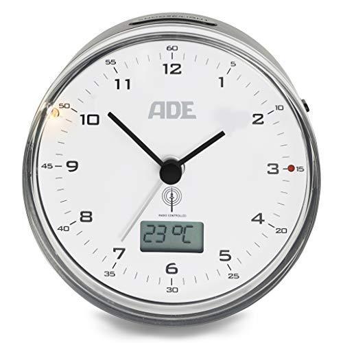 ADE Funkwecker analog CK 2022 (Geräuschloser Wecker ohne Ticken, Thermometer, Datum und Snooze-Funktion, 8,2 cm Durchmesser), ABS Kunststoff, Schwarz weiß, 8.2 cm