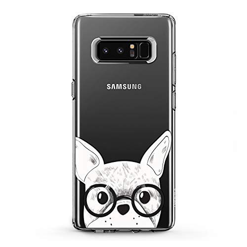 Lex Altern TPU Case Compatible for Samsung Galaxy A90 5G A11 A12 A50 A01 A20 A10s Smart Lightweight Bulldog Glasses Girl Art Cover Animal French Smooth Print Dog Design Clear Slim fit Soft White