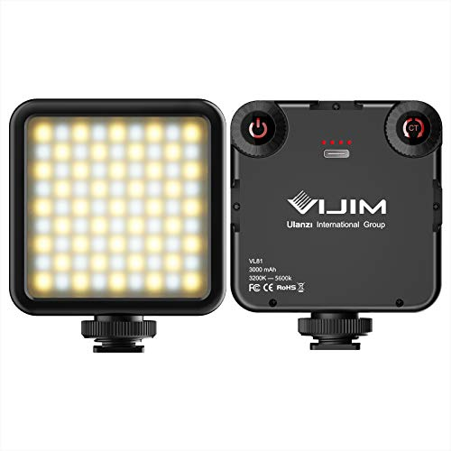 VIJIM VL81 Luz de vídeo LED ultra luminosa, 81 LED regulables en la luz de la cámara, luz continua bicolor 2500-5500K con batería integrada recargable 3000 mAh para cámaras de fotos y smartphones