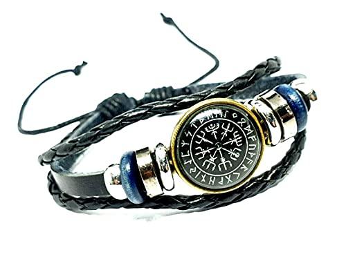 Leather Viking Vegvisir Rune Compass Cuff Bracelet 3 Bands Icelandic Stave UK