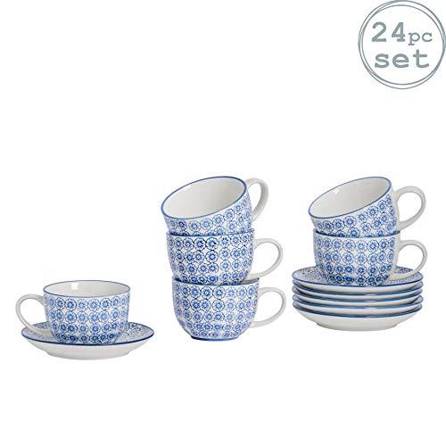 Nicola Spring Gemustertes Porzellan Cappuccino/Tee-Tassen und Teller-Set - Blau Blume Design - 12er-Set