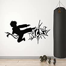 Vinyl Muursticker Karate Jongen Vechten Kick Martial Arts Sport Club Interieur Decor Venster Glas Stickers Tiener Kamer Mu...