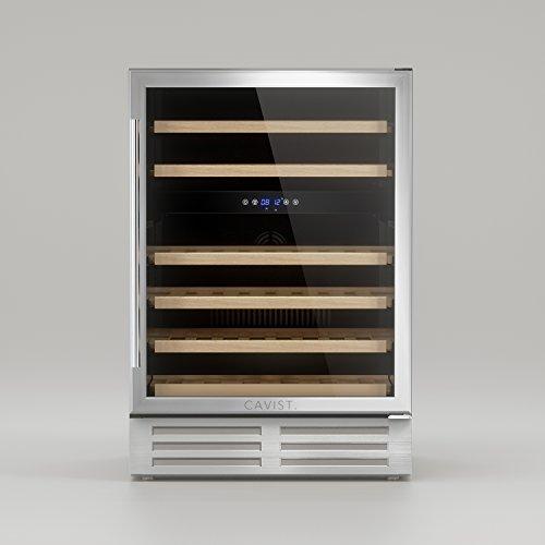 CAVIST C46 Weinkühlschrank/87 cm/Einbaubarer/Kapazität 138 L - 46 Flsachen/6 Regale aus Holz