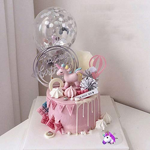 10 Piezas Feliz Cumpleaños Cake Topper, Confeti Globo Torta Cumpleaños, Cake Topper Unicornio, Fores plateadas, Plata Happy Birthday Cake Topper, Globo Hueco Rosa