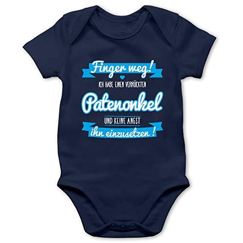 Shirtracer Sprüche Baby - Ich Habe einen verrückten Patenonkel blau - 3/6 Monate - Navy Blau - Onkel Body - BZ10 - Baby Body Kurzarm für Jungen und Mädchen