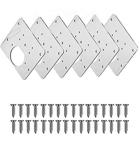 Scharnier-Reparaturplatte, Küchen-Scharnier-Reparaturplatten, Scharnier-Reparatur-Set für Schranktüren, Edelstahl, 7,9 x 8,9 cm (6 Stück)