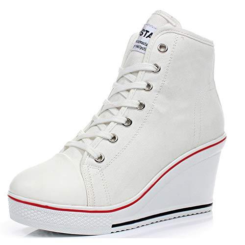 Padgene Zapatillas Moda de Lona Zapatos Altos Tenis Deportivos Casual Calzado Canvas para Mujer con Cordones y Cremallera Lateral