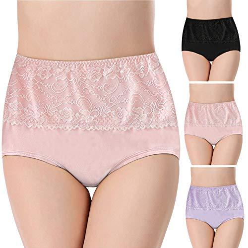 Sonnena Pack de 3 Braguitas Bragas Talle Alto para Mujer Cómodo elástico Braga Pantalones de Mujer Culottes Mujer Posparto Protección Ropa Interior