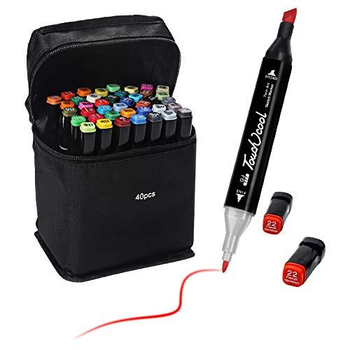 Ciaoed 40 Colores Marker Pen Set Dibujo rotulador Graffiti Pen Alcohol de Punta Doble ara Acuarela Graffiti para Principiantes Set de Rotuladores de Boceto Hecho a Mano