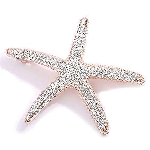 Crystal Rhinestone Starfish Hair Clip Handmade Hair Barrettes Sea Star Hair Clip Beach Hairpin Hair Accessories for Women (Clear Crystal)
