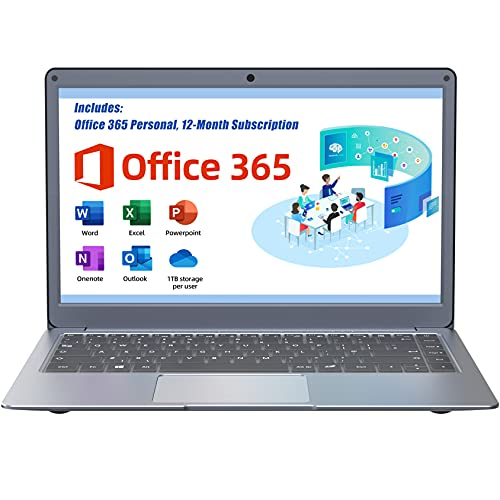 Jumper Laptop with Microsoft Office 365, 13.3 inches FHD Computer PC 4GB RAM 64GB eMMC (Intel Celeron CPU, Windows 10, Dual-band WiFi, USB3.0) Support 256GB TF card and 1TB SSD Expansion