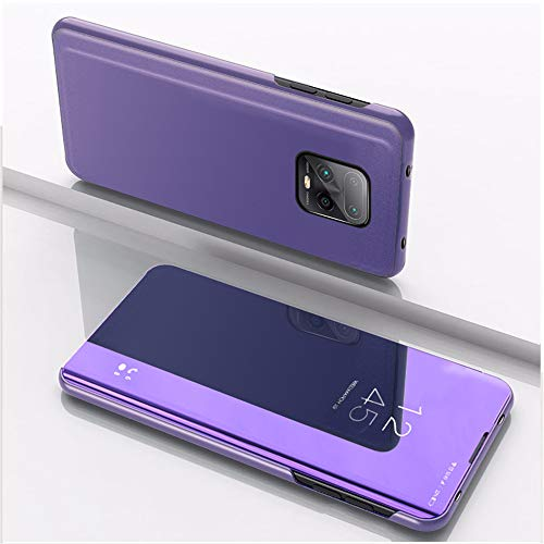 SRGHDD Compatible con Xiaomi Redmi 10X 10X 4G 5G Funda de cuero Smart View Mirror Cases Xiomi Redmi 10X 5G Flip Cover Stand Phone Shell Holder (Redmi 10X, morado azul)