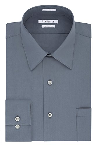 Van Heusen Men's Dress Shirt Regular Fit Poplin Solid, Grey, 16.5' Neck 34'-35' Sleeve (Large)