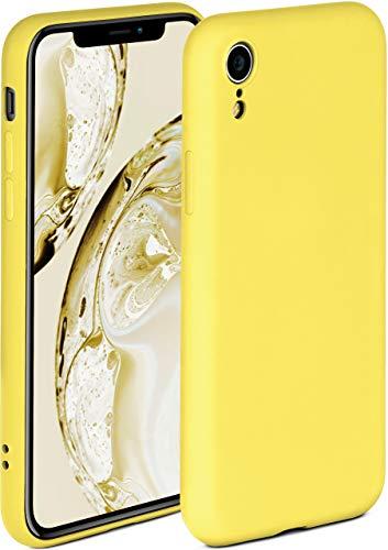 OneFlow - Carcasa blanda compatible con iPhone XR, funda de silicona con borde elevado para la protección de la pantalla, doble capa, color amarillo mate