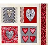 Hearts Key Quilt Blocks Cotton Fabric Panel - 15 Blocks (Great for Quilting, Sewing, Craft Projects, Wall Hangings, Throw Pillows and More) 23' X 44'