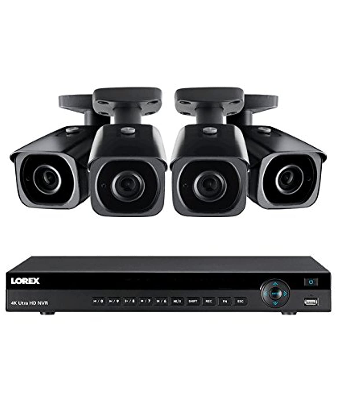 Lorex 8 channel NR9082 4K home security system with 4 8MP 4K LNB8921B Bullet Cameras - 4KHDIP84N
