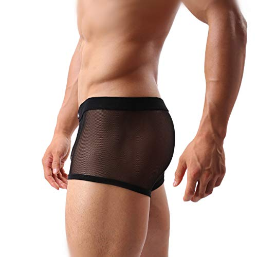 Men's Sexy Boxer Briefs Gay Mesh Breathable Cool Low Rise Underwear(36Black,XXL)