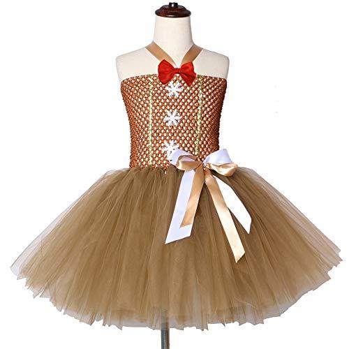 QWER Gingerbread Man Meisjes Tutu Jurk Bruin Bow-knoop Kids Meisjes Kerst Feestjurken Tulle Kinderen Carnaval Halloween Kostuum