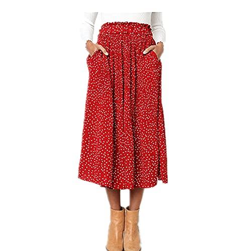 NP Punto de verano floral impresión plisada falda de las mujeres elegante elástico de cintura alta lado