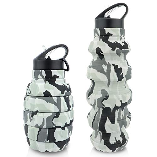 Collapsible Travel Water Bottle18oz, Reuseable BPA Free Silicone Foldable Water Bottles for Gym Camping Hiking, Portable Leak Proof Sports Water Bottle with Carabiner(camo)