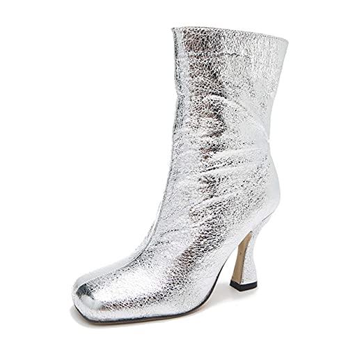 JOEupin Botines de tobillo estilo de mujer con tacón grueso botines de tacón alto para las mujeres, Silver, 36 EU