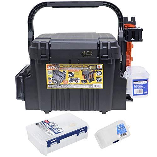 ランガンシステムボックス VS-7080 ブラック 7点セット 明邦化学工業 MEIHO VERSUS 釣り具 (ロッドスタンド:クリアオレンジ)